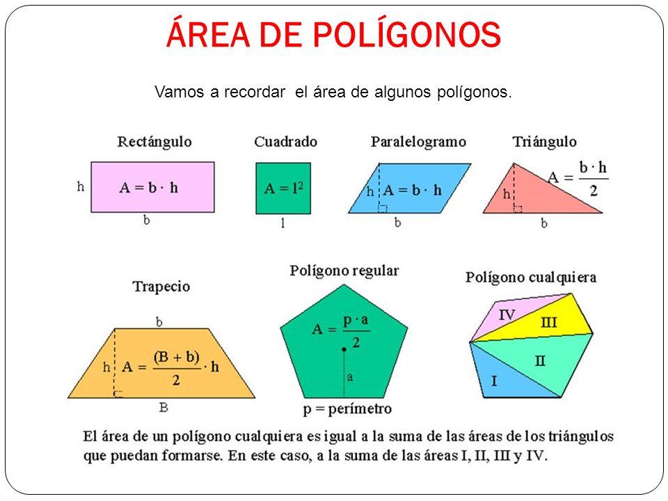 ÁREA DE POLÍGONOS Vamos a recordar el área de algunos polígonos.