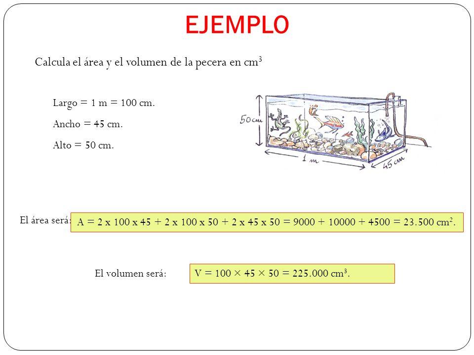 EJEMPLO Calcula el área y el volumen de la pecera en cm 3 Largo = 1 m = 100 cm.