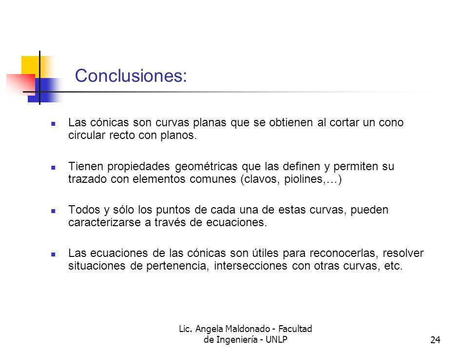Lic. Angela Maldonado - Facultad de Ingeniería - UNLP24 Conclusiones: Las cónicas son curvas planas que se obtienen al cortar un cono circular recto c