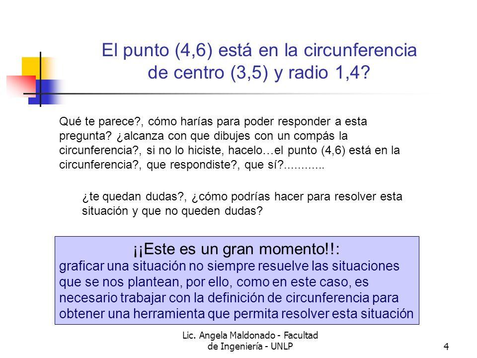 Lic. Angela Maldonado - Facultad de Ingeniería - UNLP4 El punto (4,6) está en la circunferencia de centro (3,5) y radio 1,4? Qué te parece?, cómo harí