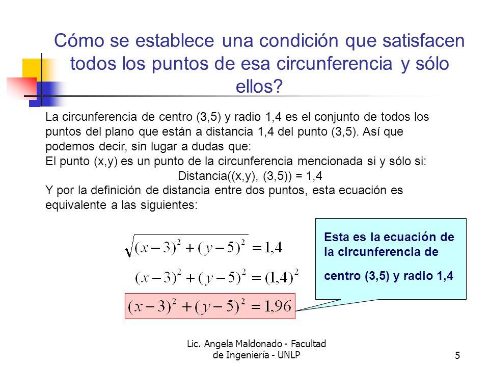 Lic. Angela Maldonado - Facultad de Ingeniería - UNLP5 Cómo se establece una condición que satisfacen todos los puntos de esa circunferencia y sólo el