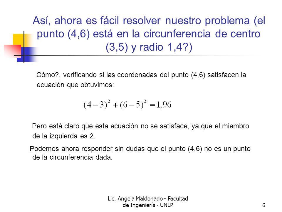 Lic. Angela Maldonado - Facultad de Ingeniería - UNLP6 Así, ahora es fácil resolver nuestro problema (el punto (4,6) está en la circunferencia de cent