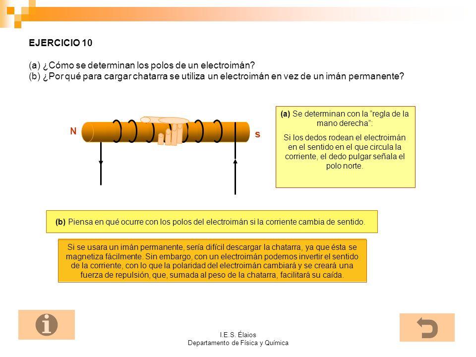 I.E.S. Élaios Departamento de Física y Química EJERCICIO 10 (a) ¿Cómo se determinan los polos de un electroimán? (b) ¿Por qué para cargar chatarra se