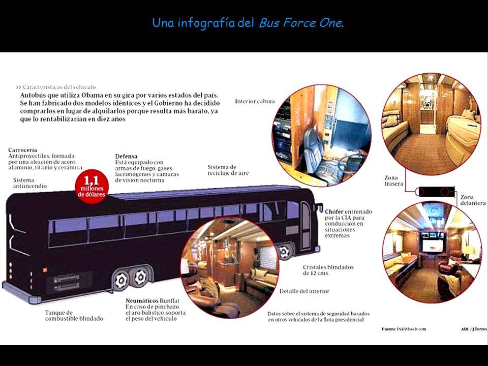 Por supuesto, la protección de Obama no termina con su limusina, sino que también hay un Bus-Force One, toda una Fortaleza con características similar