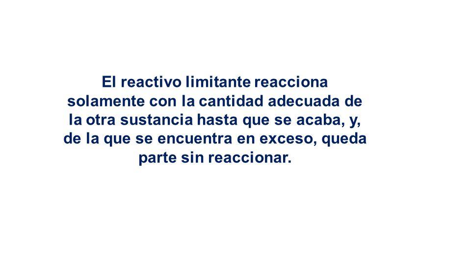El reactivo limitante reacciona solamente con la cantidad adecuada de la otra sustancia hasta que se acaba, y, de la que se encuentra en exceso, queda parte sin reaccionar.