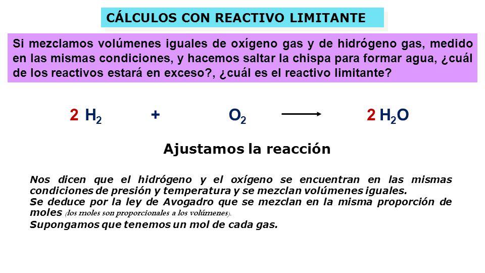 CÁLCULOS CON REACTIVO LIMITANTE CÁLCULOS CON REACTIVO LIMITANTE H 2 +O2O2 H 2 O Si mezclamos volúmenes iguales de oxígeno gas y de hidrógeno gas, medido en las mismas condiciones, y hacemos saltar la chispa para formar agua, ¿cuál de los reactivos estará en exceso?, ¿cuál es el reactivo limitante.