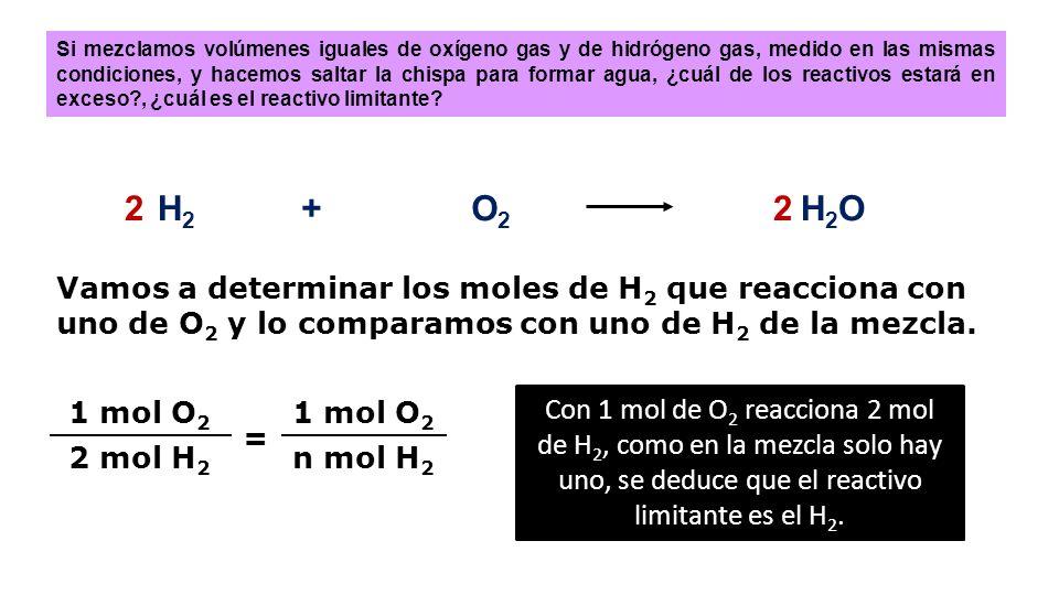 CÁLCULOS CON REACTIVO LIMITANTE CÁLCULOS CON REACTIVO LIMITANTE H 2 +O2O2 H 2 O Si mezclamos volúmenes iguales de oxígeno gas y de hidrógeno gas, medi