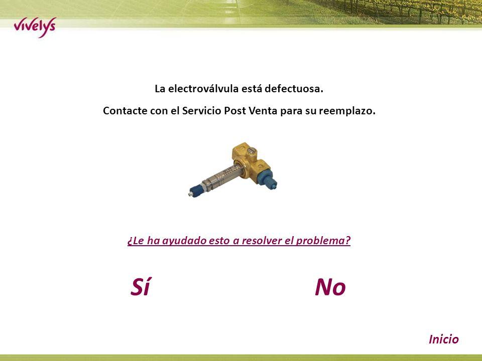 La electroválvula está defectuosa. Contacte con el Servicio Post Venta para su reemplazo.