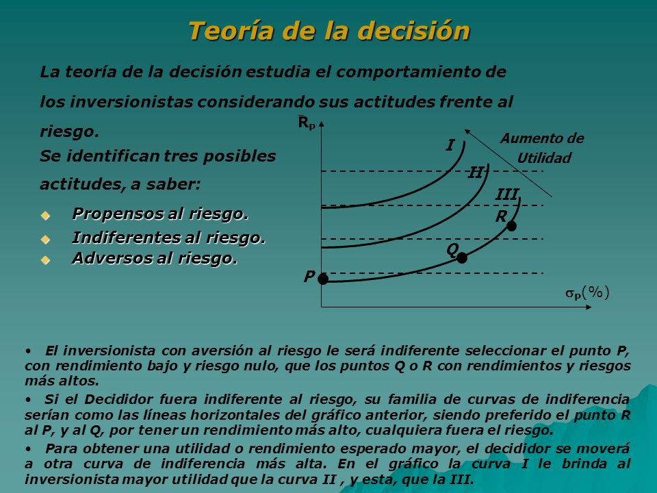 Teoría de la decisión La teoría de la decisión estudia el comportamiento de los inversionistas considerando sus actitudes frente al riesgo. Se identif