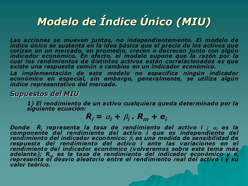 Modelo de Índice Único (MIU) Las acciones se mueven juntas, no independientemente. El modelo de índice único se sustenta en la idea básica que el prec