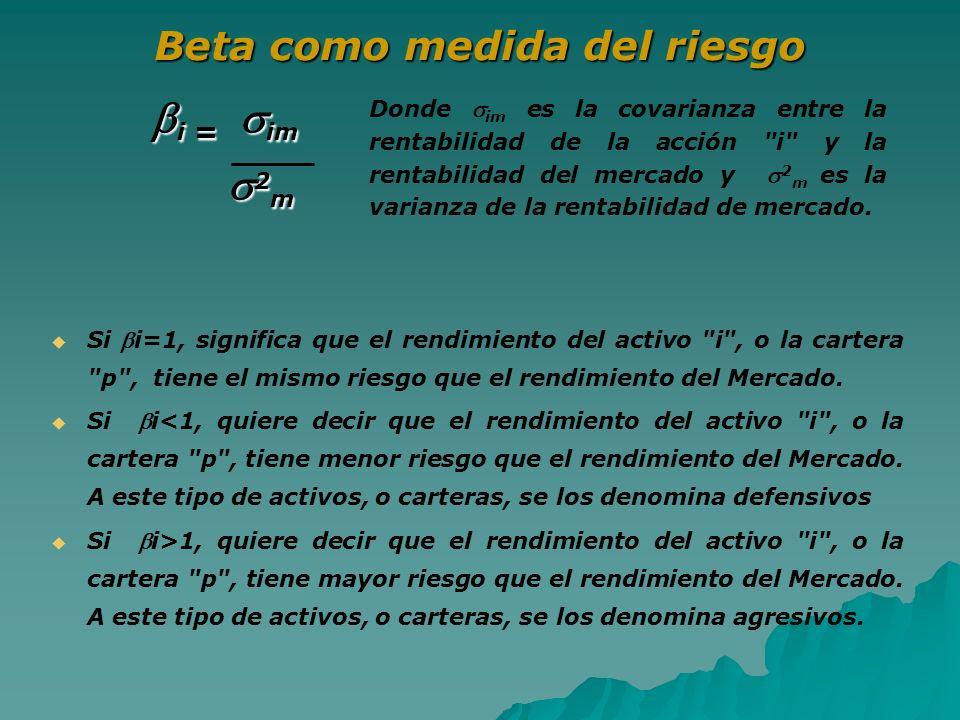 Beta como medida del riesgo Si i=1, significa que el rendimiento del activo