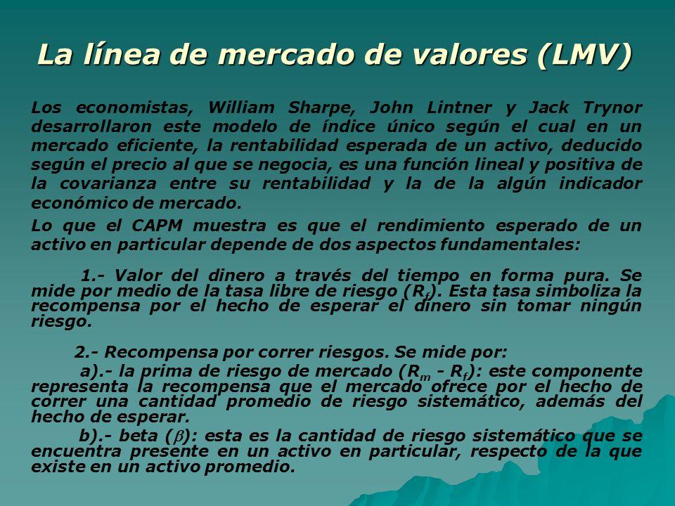 La línea de mercado de valores (LMV) Los economistas, William Sharpe, John Lintner y Jack Trynor desarrollaron este modelo de índice único según el cu