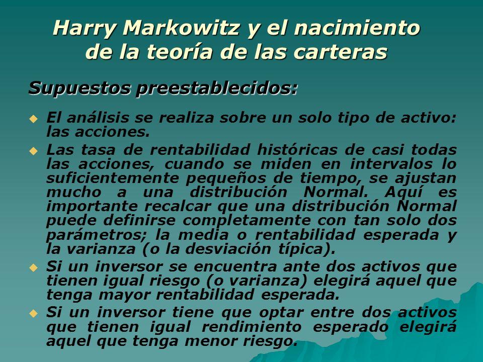 Harry Markowitz y el nacimiento de la teoría de las carteras Supuestos preestablecidos: El análisis se realiza sobre un solo tipo de activo: las accio