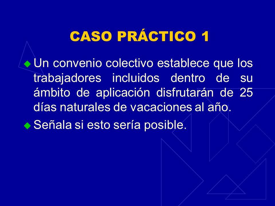 CASO PRÁCTICO 1 Un convenio colectivo establece que los trabajadores incluidos dentro de su ámbito de aplicación disfrutarán de 25 días naturales de v
