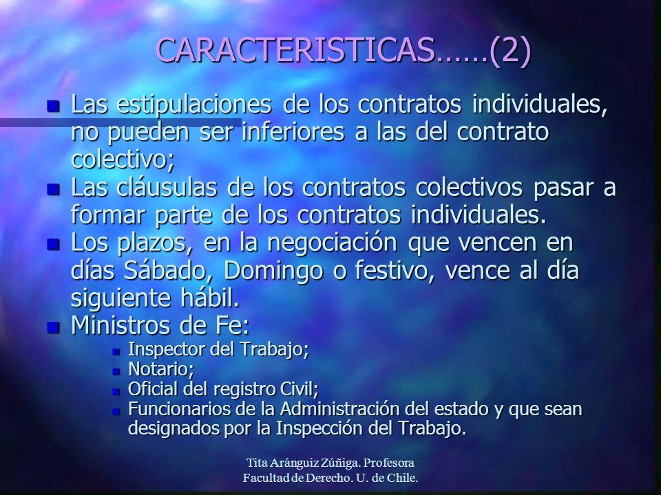 Tita Aránguiz Zúñiga. Profesora Facultad de Derecho. U. de Chile. CARACTERISTICAS……(2) n Las estipulaciones de los contratos individuales, no pueden s