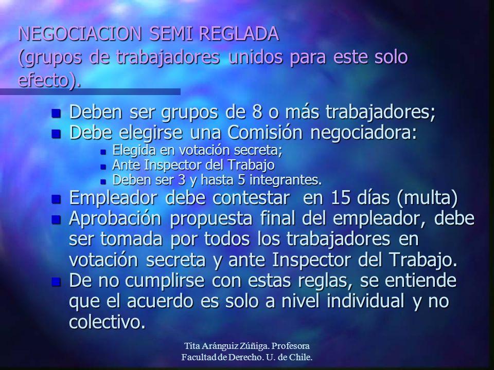 Tita Aránguiz Zúñiga. Profesora Facultad de Derecho. U. de Chile. NEGOCIACION SEMI REGLADA (grupos de trabajadores unidos para este solo efecto). n De