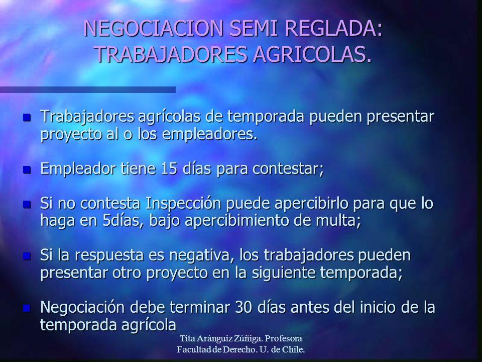 Tita Aránguiz Zúñiga. Profesora Facultad de Derecho. U. de Chile. NEGOCIACION SEMI REGLADA: TRABAJADORES AGRICOLAS. n Trabajadores agrícolas de tempor