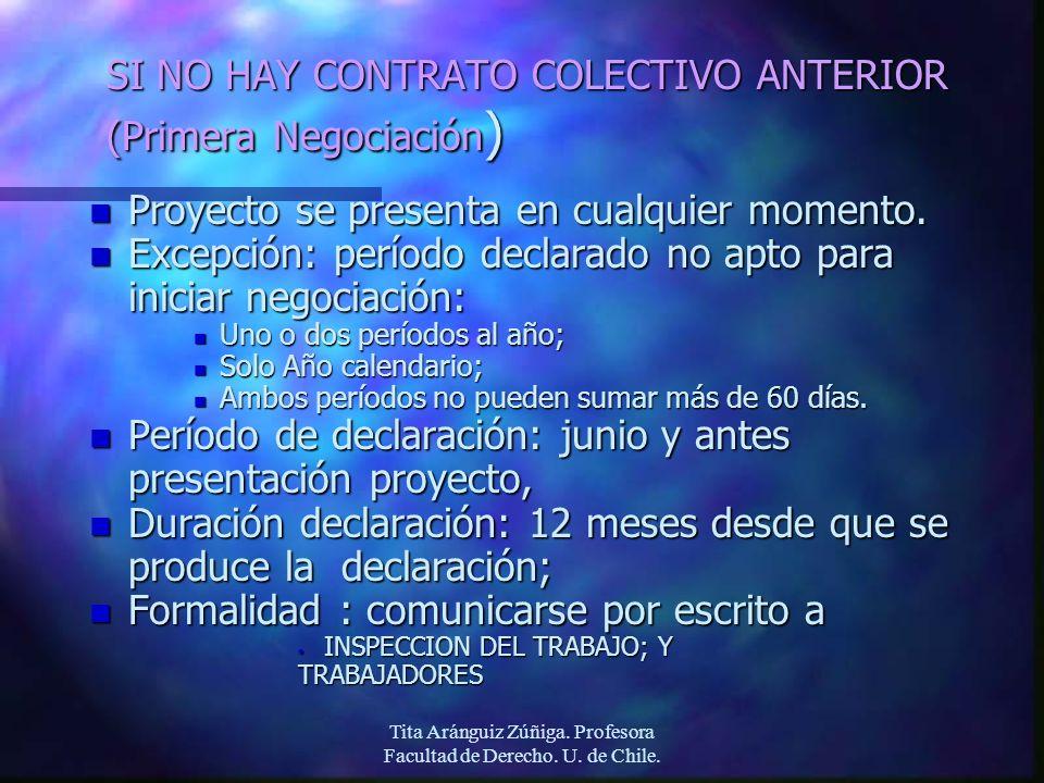 Tita Aránguiz Zúñiga. Profesora Facultad de Derecho. U. de Chile. SI NO HAY CONTRATO COLECTIVO ANTERIOR (Primera Negociación ) n Proyecto se presenta