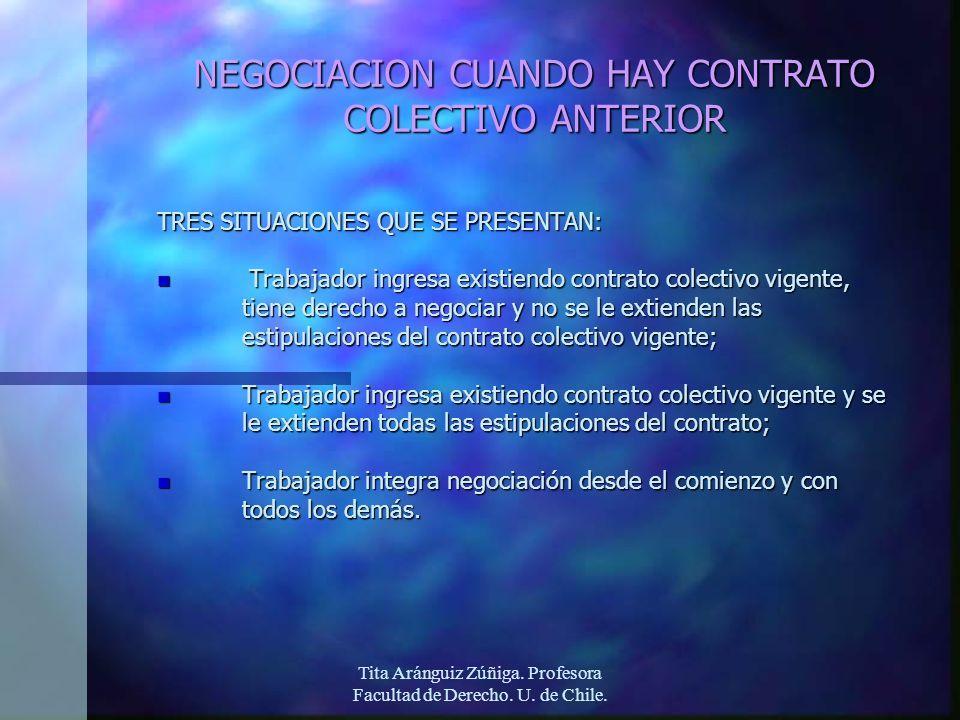 Tita Aránguiz Zúñiga. Profesora Facultad de Derecho. U. de Chile. NEGOCIACION CUANDO HAY CONTRATO COLECTIVO ANTERIOR TRES SITUACIONES QUE SE PRESENTAN