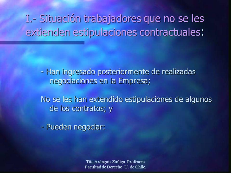 Tita Aránguiz Zúñiga. Profesora Facultad de Derecho. U. de Chile. I.- Situación trabajadores que no se les extienden estipulaciones contractuales : -