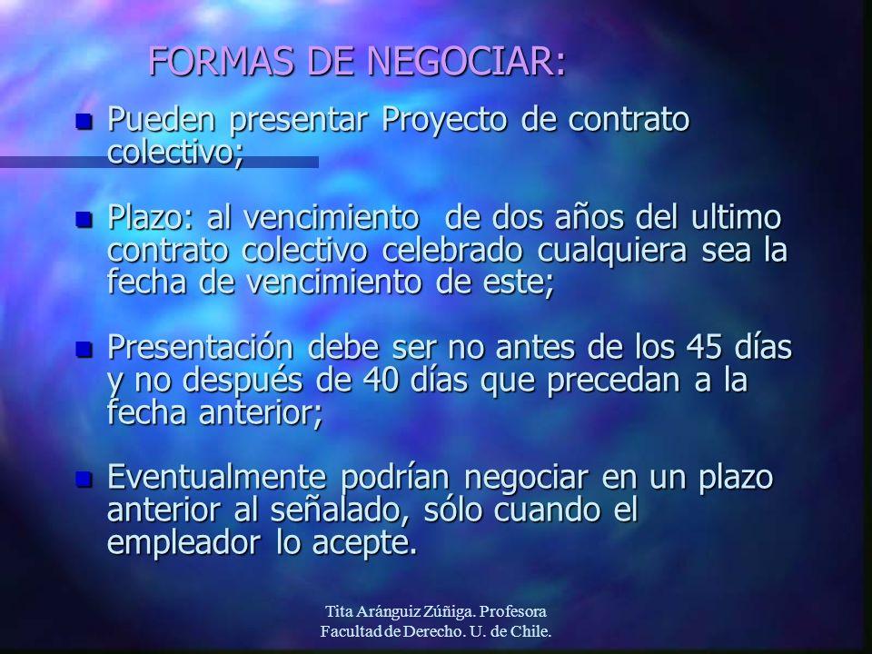 Tita Aránguiz Zúñiga. Profesora Facultad de Derecho. U. de Chile. FORMAS DE NEGOCIAR: n Pueden presentar Proyecto de contrato colectivo; n Plazo: al v