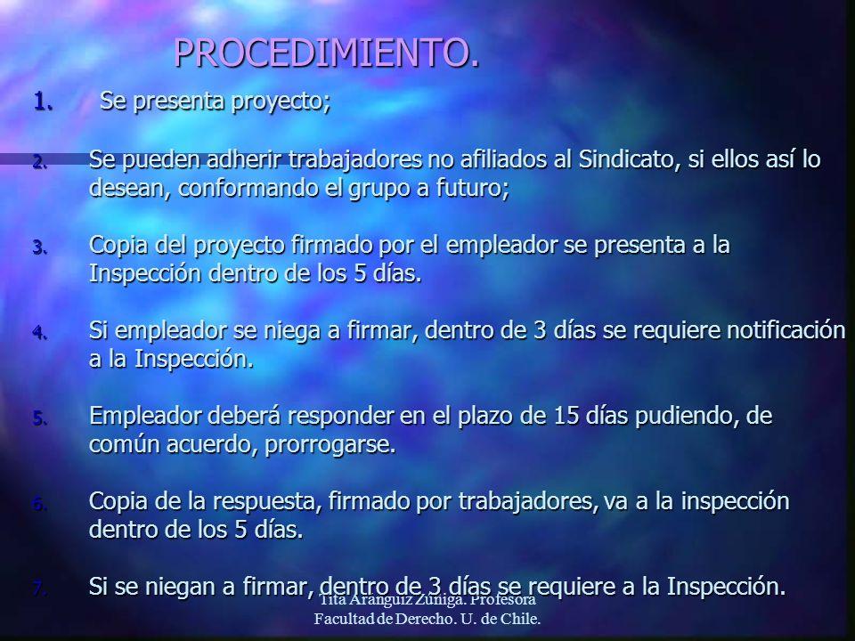Tita Aránguiz Zúñiga. Profesora Facultad de Derecho. U. de Chile.PROCEDIMIENTO. 1. Se presenta proyecto; 2. Se pueden adherir trabajadores no afiliado