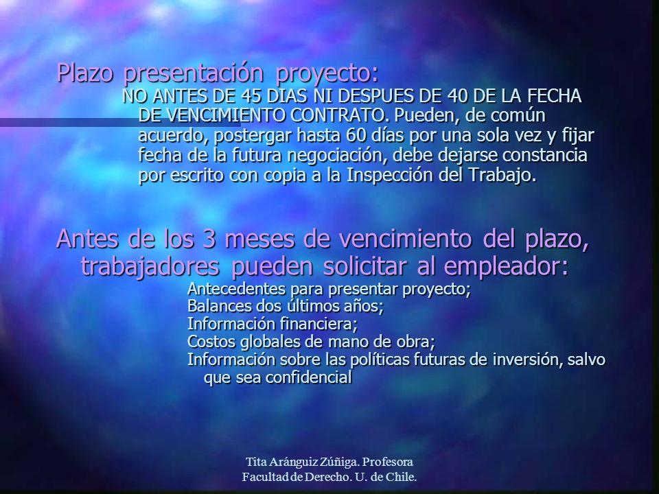 Tita Aránguiz Zúñiga. Profesora Facultad de Derecho. U. de Chile. Plazo presentación proyecto: NO ANTES DE 45 DIAS NI DESPUES DE 40 DE LA FECHA DE VEN
