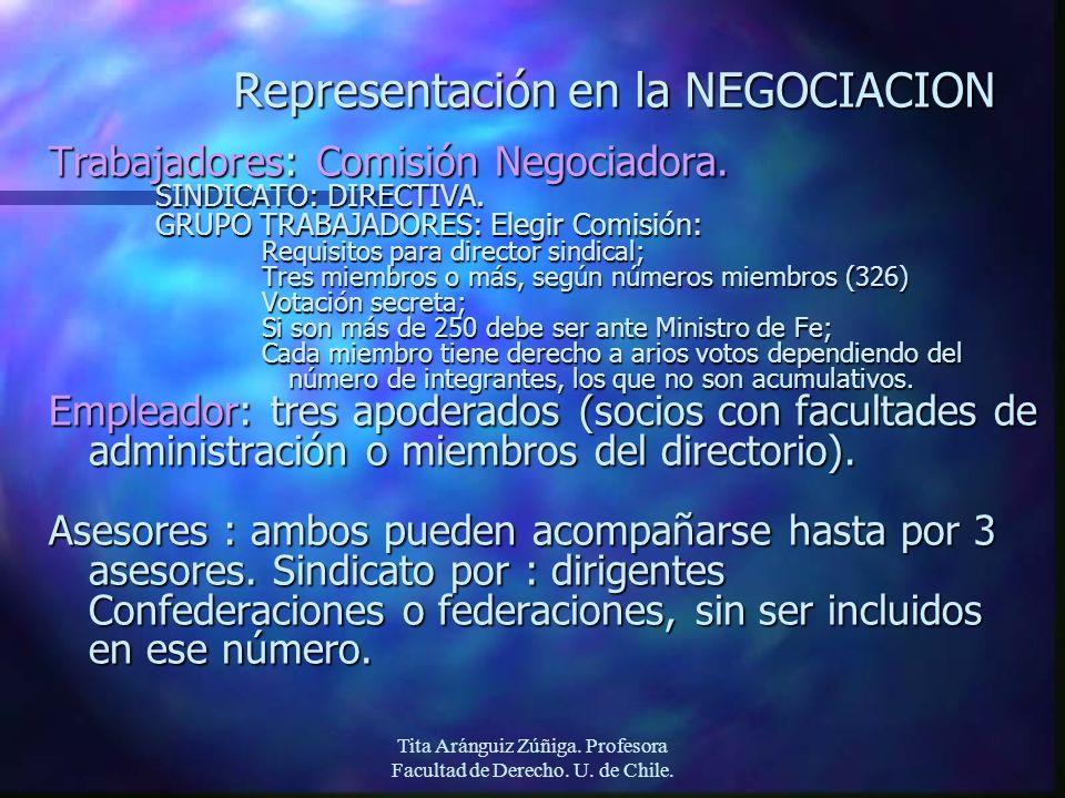 Tita Aránguiz Zúñiga. Profesora Facultad de Derecho. U. de Chile. Representación en la NEGOCIACION Trabajadores: Comisión Negociadora. SINDICATO: DIRE