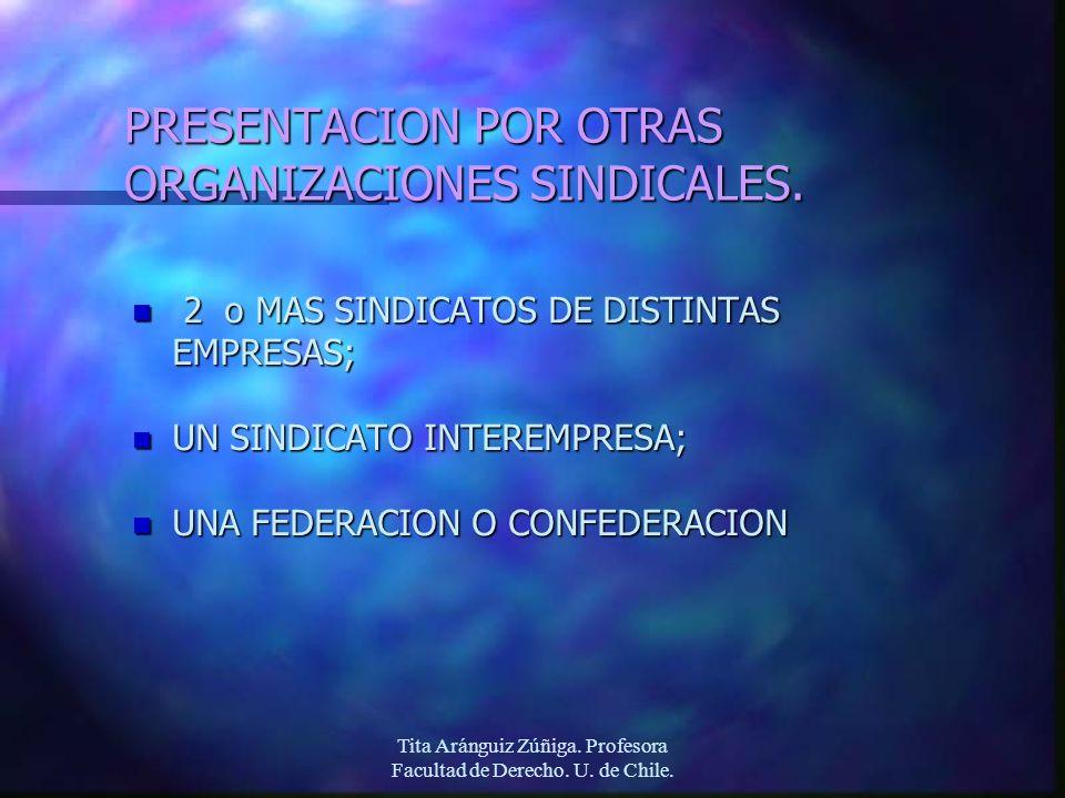 Tita Aránguiz Zúñiga. Profesora Facultad de Derecho. U. de Chile. PRESENTACION POR OTRAS ORGANIZACIONES SINDICALES. n 2 o MAS SINDICATOS DE DISTINTAS