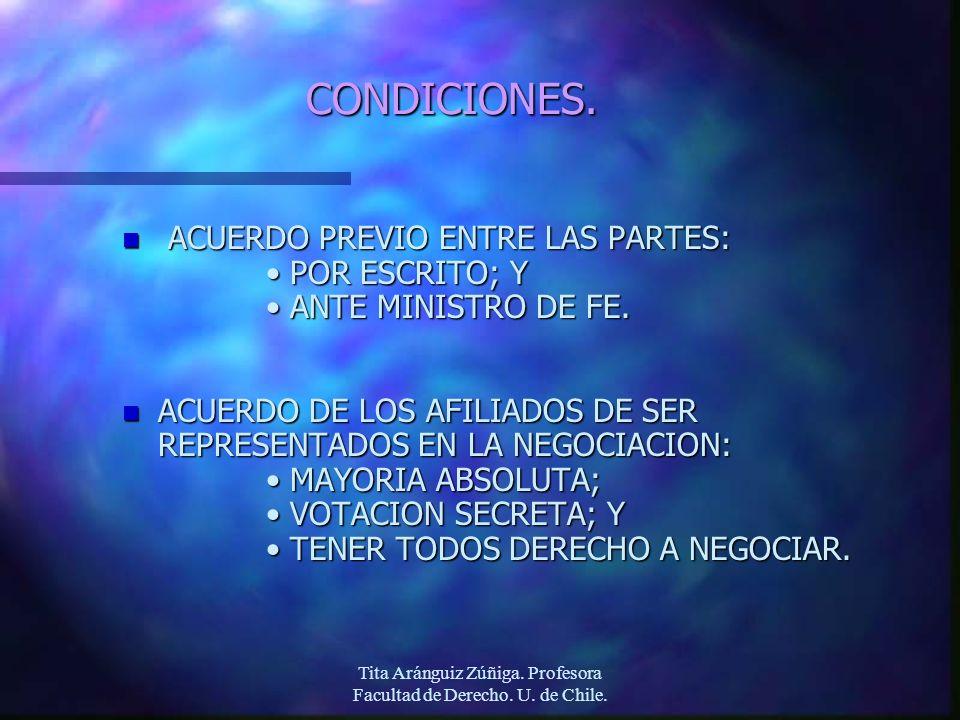 Tita Aránguiz Zúñiga. Profesora Facultad de Derecho. U. de Chile. CONDICIONES. n ACUERDO PREVIO ENTRE LAS PARTES: POR ESCRITO; YPOR ESCRITO; Y ANTE MI