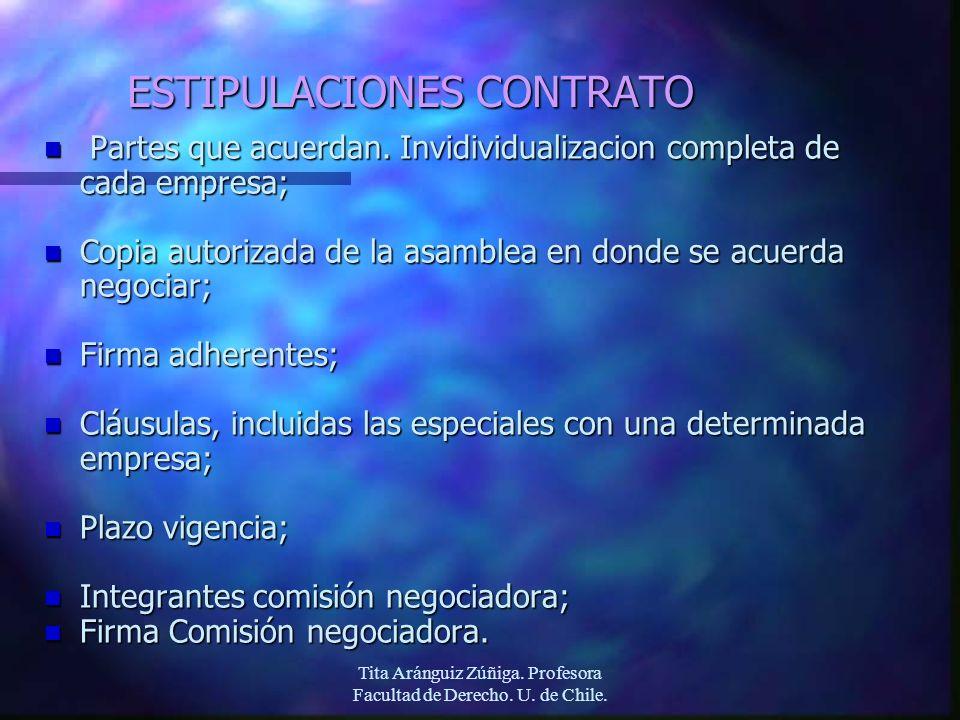 Tita Aránguiz Zúñiga. Profesora Facultad de Derecho. U. de Chile. ESTIPULACIONES CONTRATO n Partes que acuerdan. Invidividualizacion completa de cada