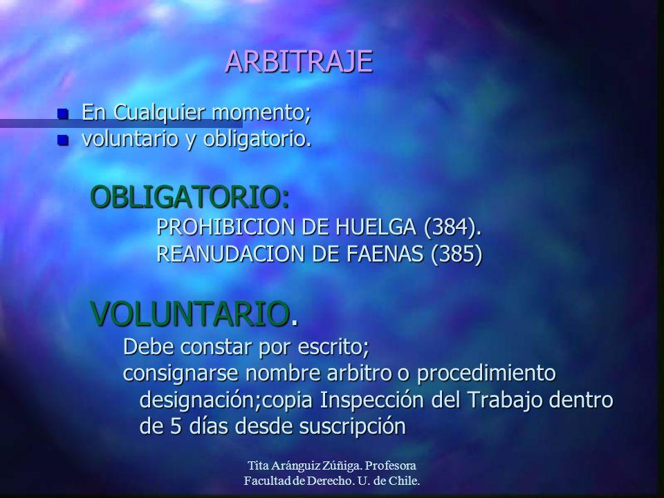Tita Aránguiz Zúñiga. Profesora Facultad de Derecho. U. de Chile. ARBITRAJE n En Cualquier momento; n voluntario y obligatorio. OBLIGATORIO: PROHIBICI