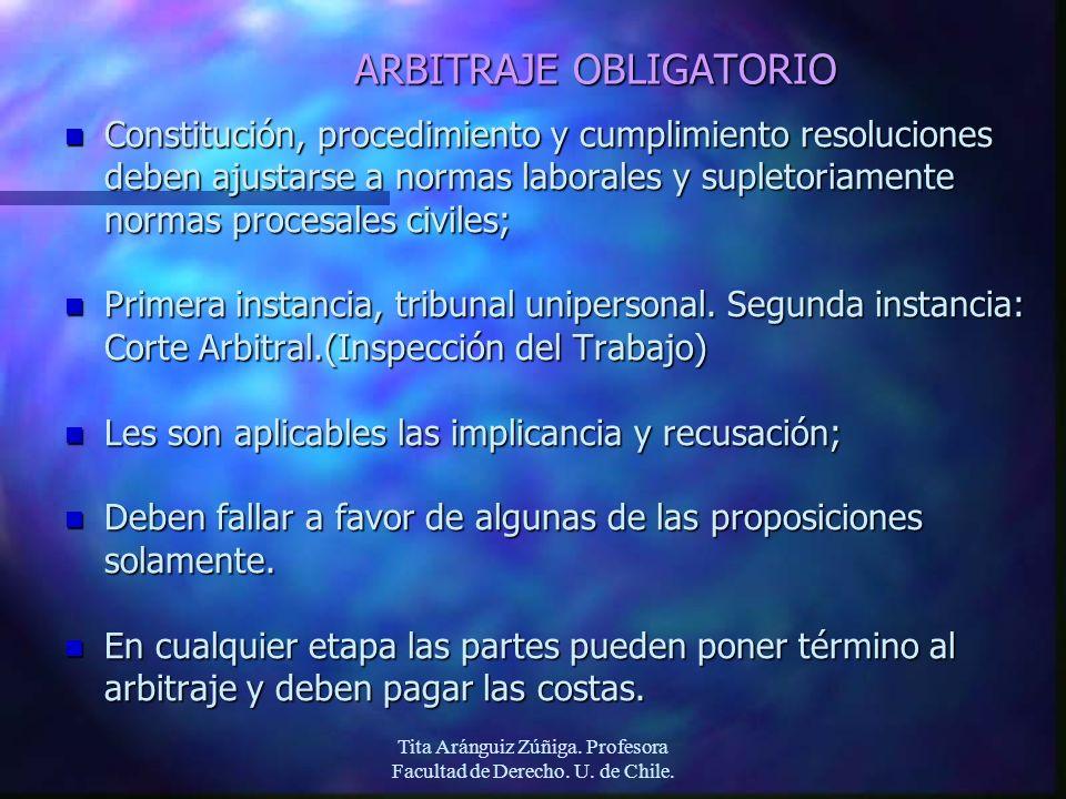 Tita Aránguiz Zúñiga. Profesora Facultad de Derecho. U. de Chile. ARBITRAJE OBLIGATORIO n Constitución, procedimiento y cumplimiento resoluciones debe