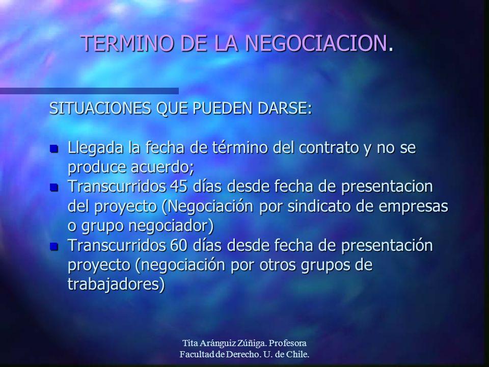 Tita Aránguiz Zúñiga. Profesora Facultad de Derecho. U. de Chile. TERMINO DE LA NEGOCIACION. SITUACIONES QUE PUEDEN DARSE: n Llegada la fecha de térmi