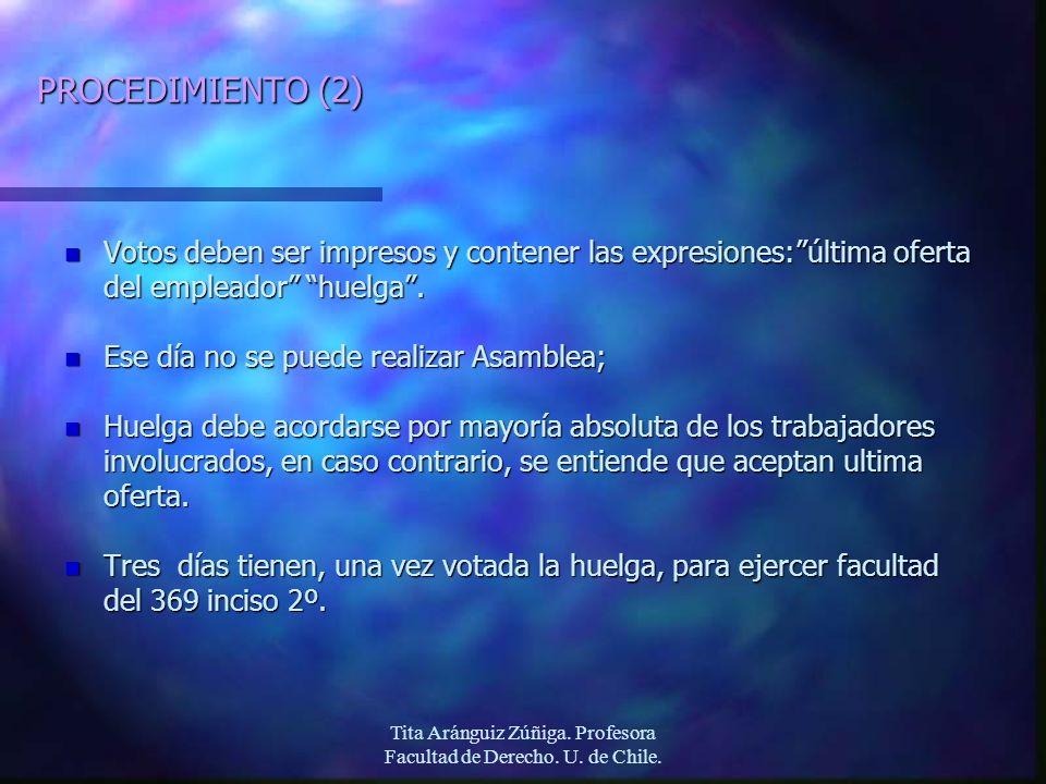 Tita Aránguiz Zúñiga. Profesora Facultad de Derecho. U. de Chile. PROCEDIMIENTO (2) n Votos deben ser impresos y contener las expresiones:última ofert