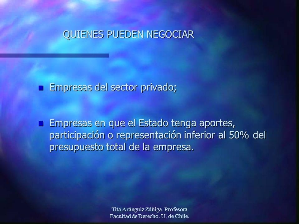 Tita Aránguiz Zúñiga. Profesora Facultad de Derecho. U. de Chile. QUIENES PUEDEN NEGOCIAR n Empresas del sector privado; n Empresas en que el Estado t