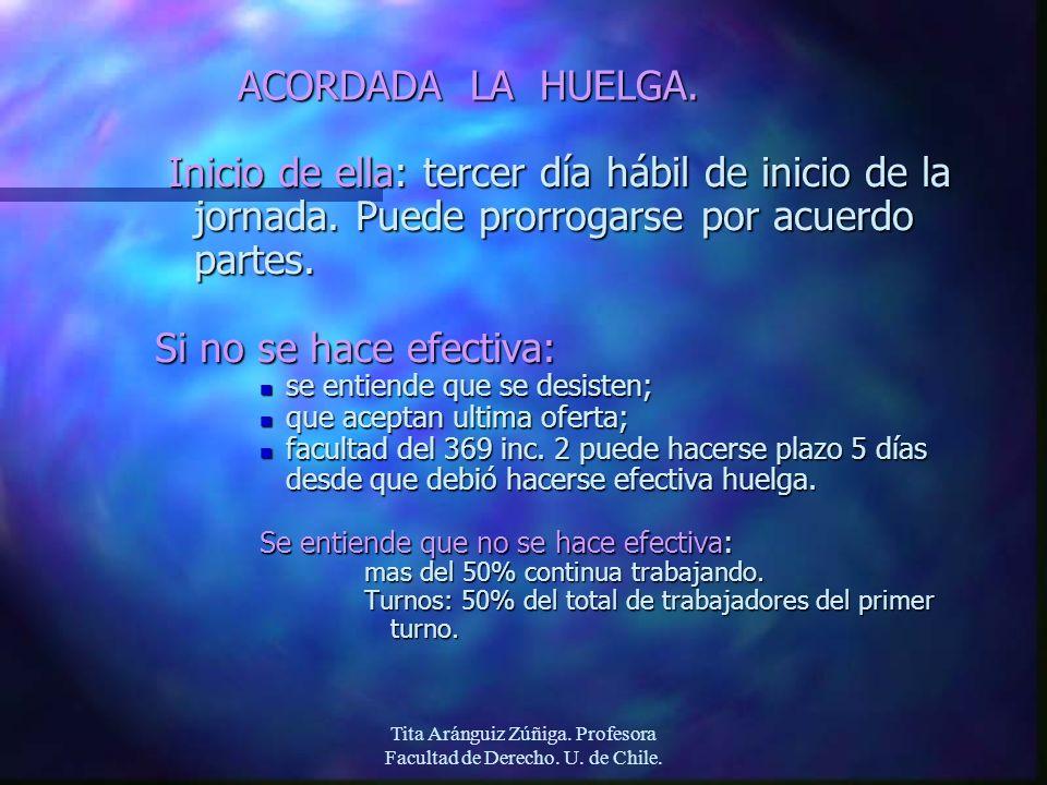 Tita Aránguiz Zúñiga. Profesora Facultad de Derecho. U. de Chile. ACORDADA LA HUELGA. Inicio de ella: tercer día hábil de inicio de la jornada. Puede