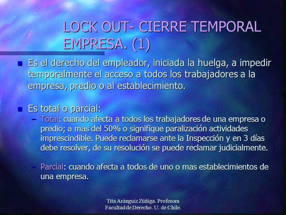 Tita Aránguiz Zúñiga. Profesora Facultad de Derecho. U. de Chile. LOCK OUT- CIERRE TEMPORAL EMPRESA. (1) n Es el derecho del empleador, iniciada la hu