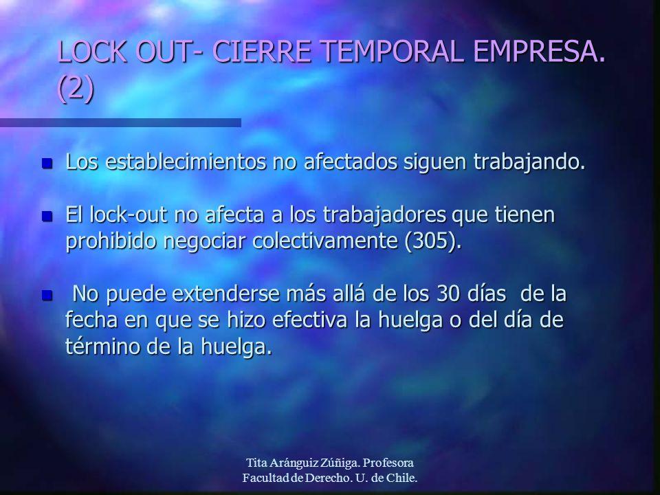 Tita Aránguiz Zúñiga. Profesora Facultad de Derecho. U. de Chile. LOCK OUT- CIERRE TEMPORAL EMPRESA. (2) n Los establecimientos no afectados siguen tr