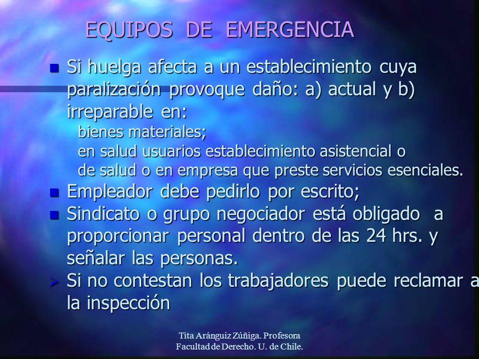 Tita Aránguiz Zúñiga. Profesora Facultad de Derecho. U. de Chile. EQUIPOS DE EMERGENCIA n Si huelga afecta a un establecimiento cuya paralización prov
