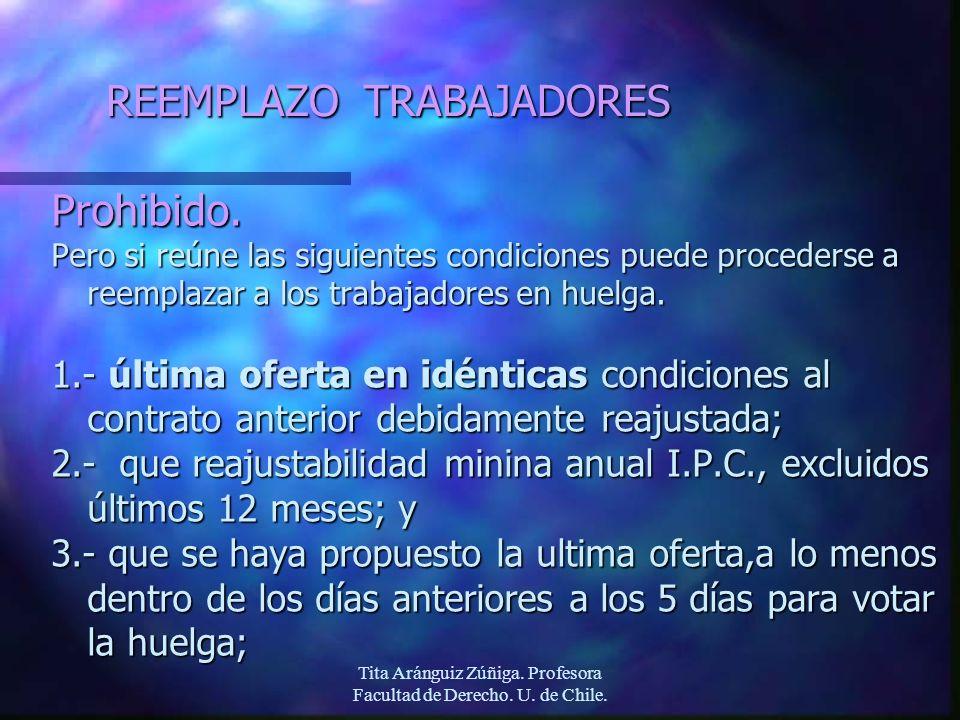 Tita Aránguiz Zúñiga. Profesora Facultad de Derecho. U. de Chile. REEMPLAZO TRABAJADORES Prohibido. Pero si reúne las siguientes condiciones puede pro