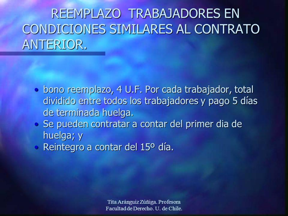 Tita Aránguiz Zúñiga. Profesora Facultad de Derecho. U. de Chile. REEMPLAZO TRABAJADORES EN CONDICIONES SIMILARES AL CONTRATO ANTERIOR. bono reemplazo