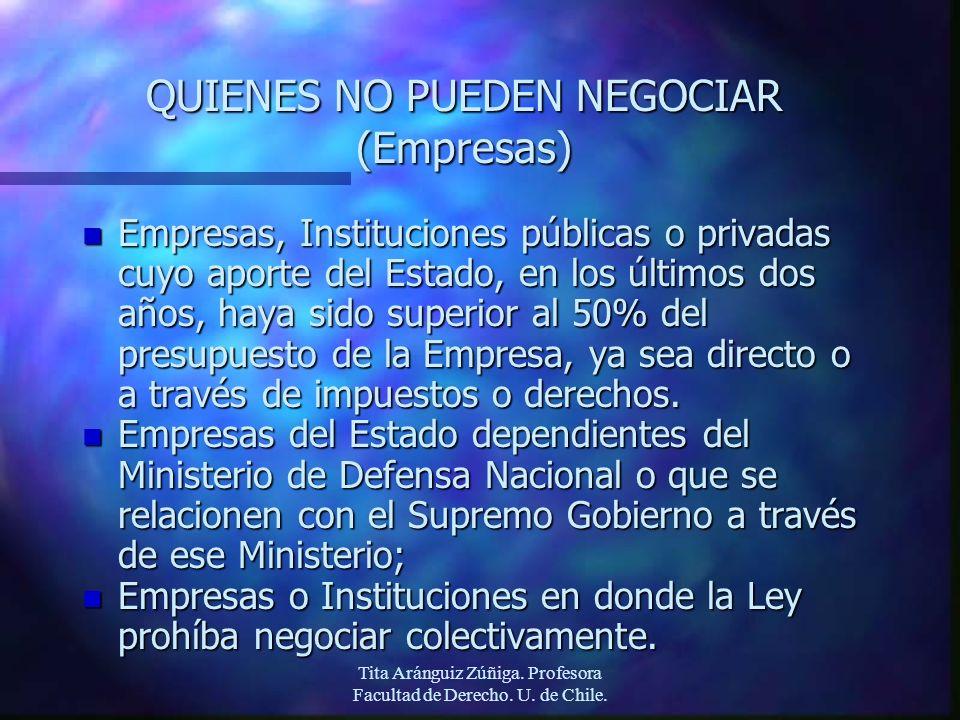 Tita Aránguiz Zúñiga. Profesora Facultad de Derecho. U. de Chile. QUIENES NO PUEDEN NEGOCIAR (Empresas) n Empresas, Instituciones públicas o privadas
