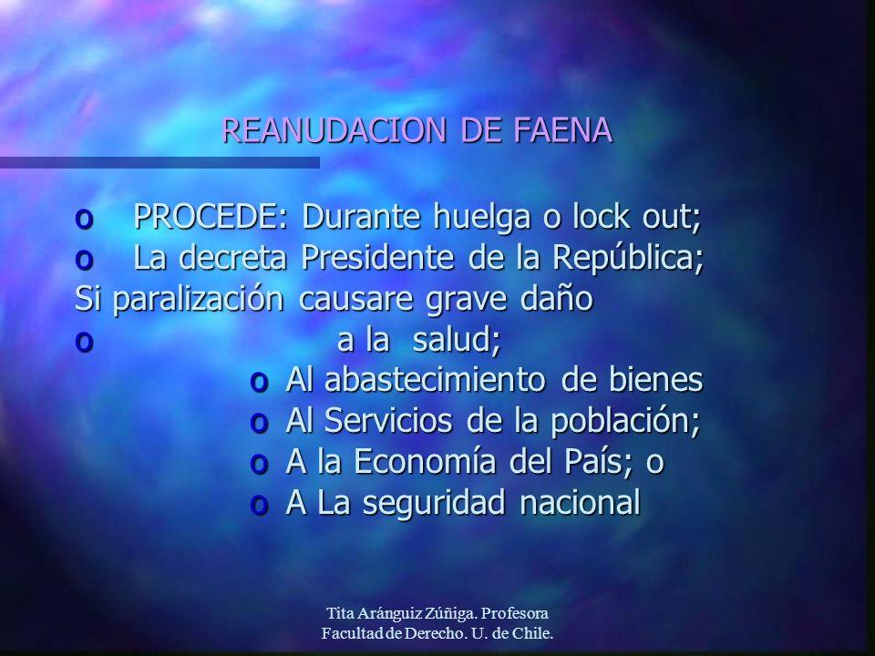 Tita Aránguiz Zúñiga. Profesora Facultad de Derecho. U. de Chile. REANUDACION DE FAENA oPROCEDE: Durante huelga o lock out; oLa decreta Presidente de