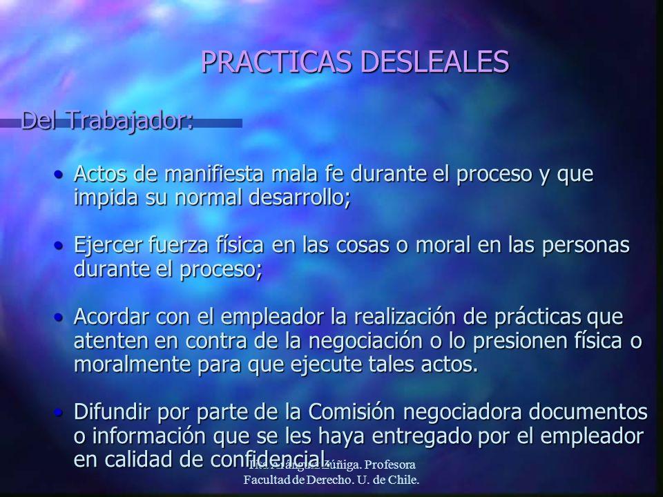 Tita Aránguiz Zúñiga. Profesora Facultad de Derecho. U. de Chile. PRACTICAS DESLEALES Del Trabajador: Actos de manifiesta mala fe durante el proceso y