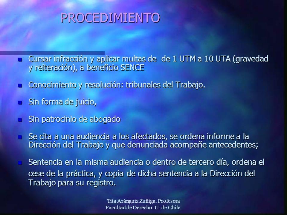 Tita Aránguiz Zúñiga. Profesora Facultad de Derecho. U. de Chile.PROCEDIMIENTO n Cursar infracción y aplicar multas de de 1 UTM a 10 UTA (gravedad y r