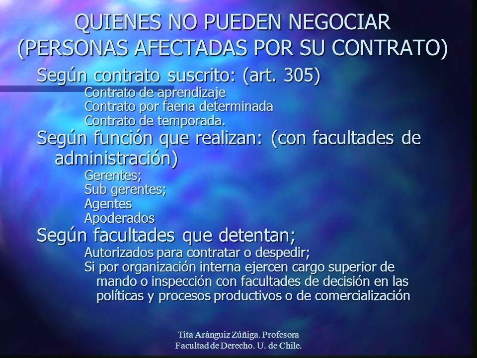 Tita Aránguiz Zúñiga. Profesora Facultad de Derecho. U. de Chile. QUIENES NO PUEDEN NEGOCIAR (PERSONAS AFECTADAS POR SU CONTRATO) Según contrato suscr