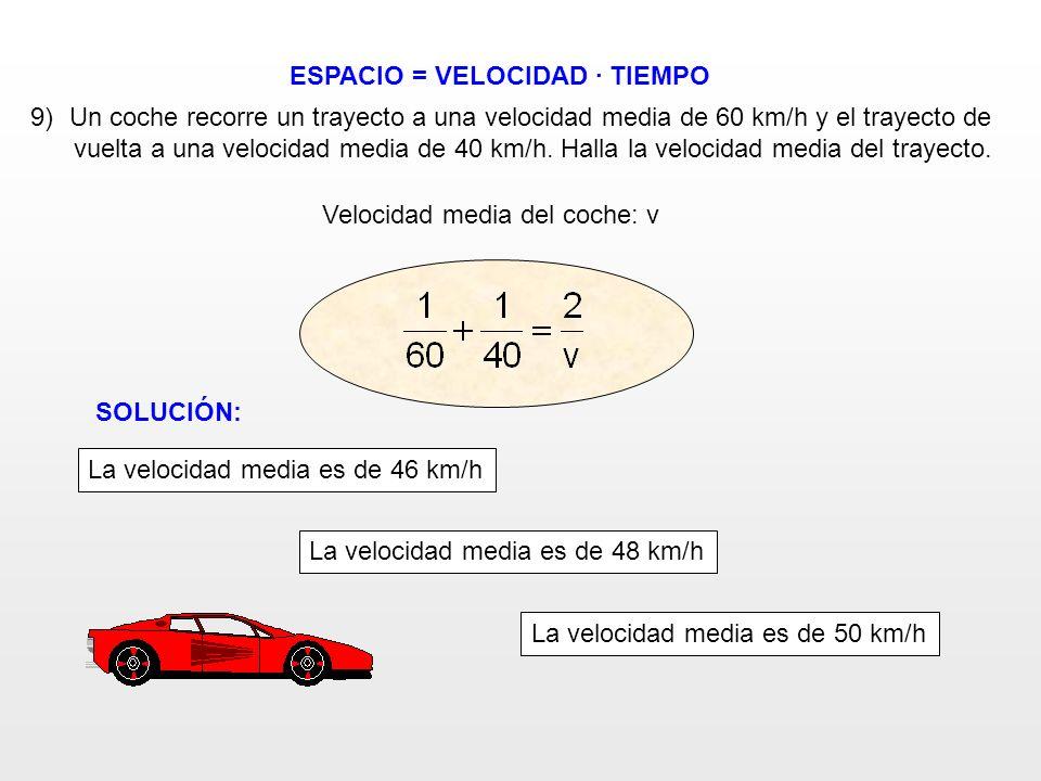ESPACIO = VELOCIDAD · TIEMPO Velocidad media del coche: v 9)Un coche recorre un trayecto a una velocidad media de 60 km/h y el trayecto de vuelta a un
