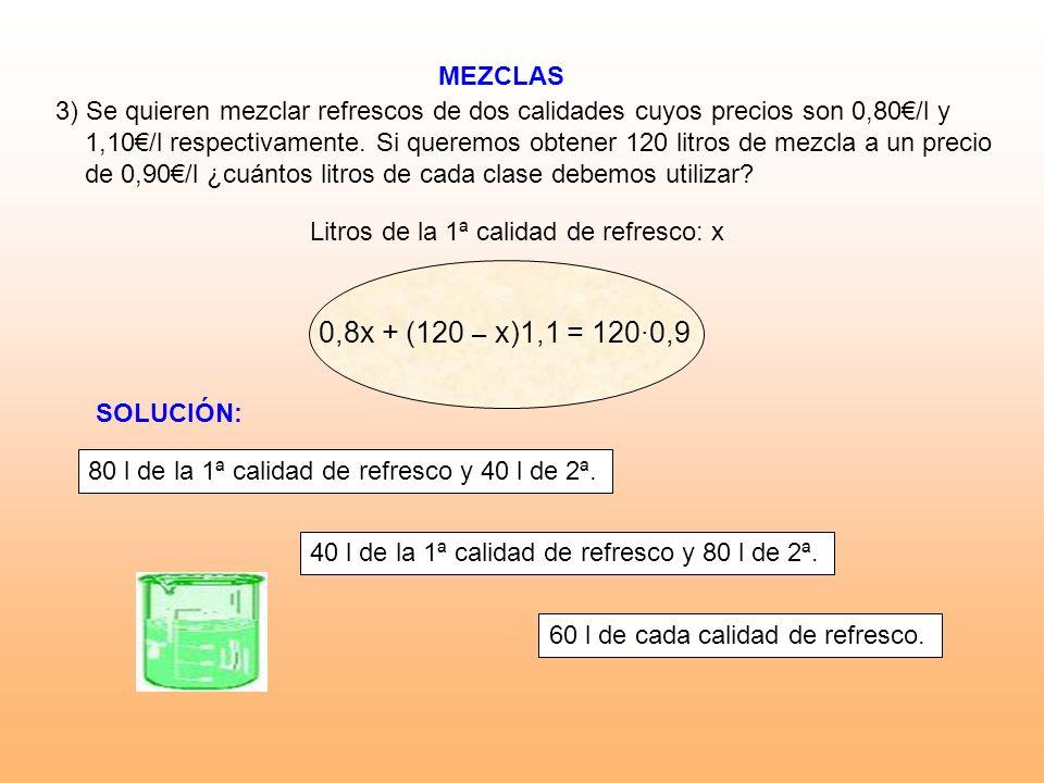 MEZCLAS Litros de la 1ª calidad de refresco: x 3) Se quieren mezclar refrescos de dos calidades cuyos precios son 0,80/l y 1,10/l respectivamente. Si