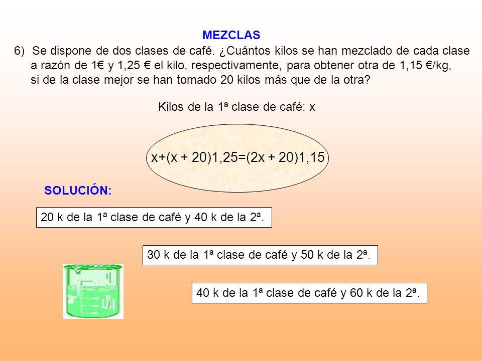 MEZCLAS Kilos de la 1ª clase de café: x 6)Se dispone de dos clases de café. ¿Cuántos kilos se han mezclado de cada clase a razón de 1 y 1,25 el kilo,